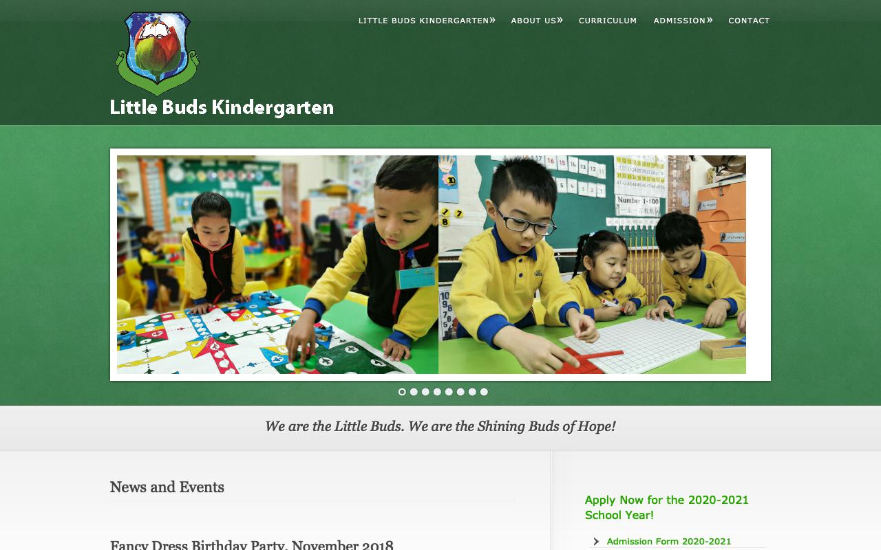 Screenshot of the Home Page of LITTLE BUDS KINDERGARTEN